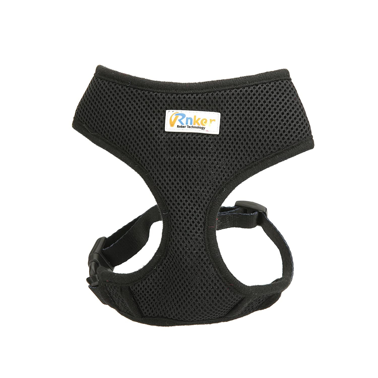 Black XS (9-13'' chest girth) (max neck girth 7.5\ Black XS (9-13'' chest girth) (max neck girth 7.5\ Rnker Soft Mesh Dog Harnesses Padded Vest No Pull Comfort Double Layer Harness for Pet Puppy (Black XS)