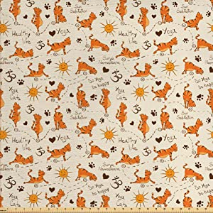 Ambesonne Cat Fabric by The Yard, Do Yoga Be Happy Theme Orange Cats in Positions Smiling Suns Paws Prints Hearts, Decorative Fabric for Upholstery and Home Accents, 3 Yards, Orange Brown