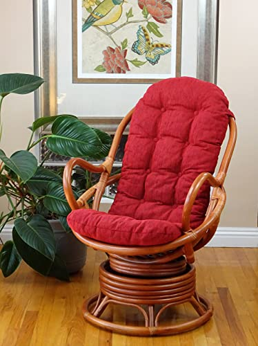 Lounge Swivel Rocking Rattan Wicker Java Chair w Red Cushion, Colonial Color