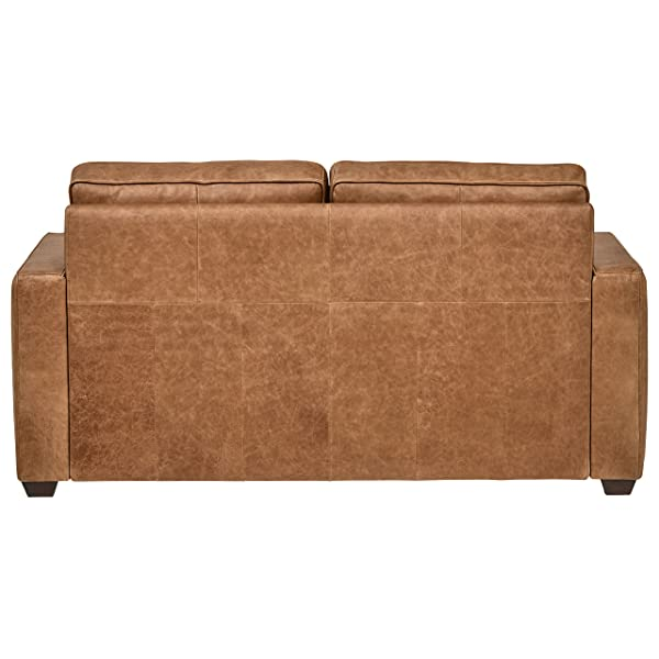 "Rivet Andrews Modern Classic Top-Grain Leather Sofa, 67"" W, Cognac"