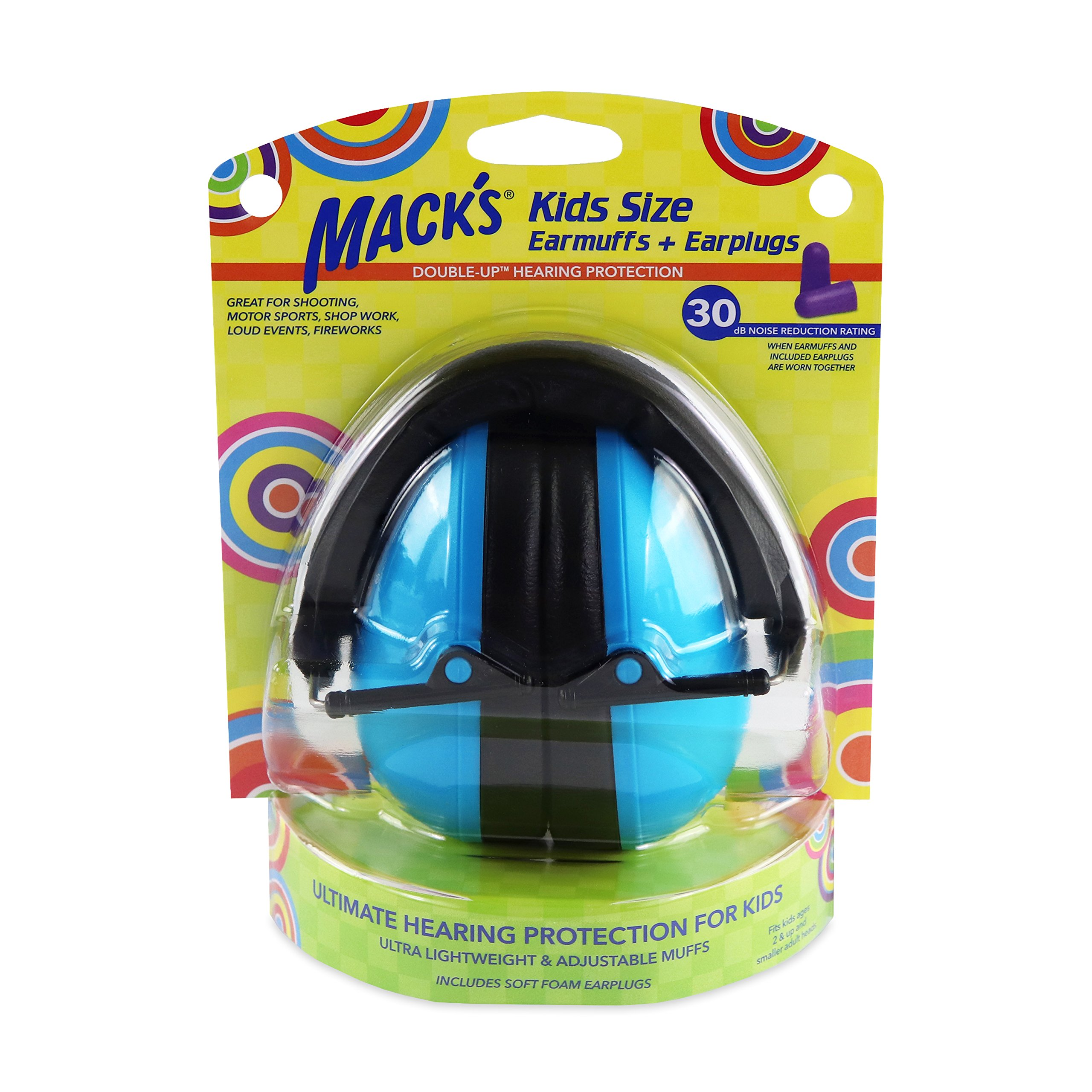 Mack's Double-Up Hearing Protection Kids Earmuffs with Earplugs – Highest NRR 30dB – Comfortable, Adjustable, Foldable Kids Ear Protection for Loud Events, Shooting and Motor Sports (Blue)