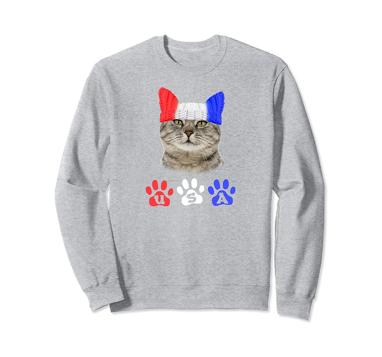 4th of July USA Cat Sweatshirt-AZP