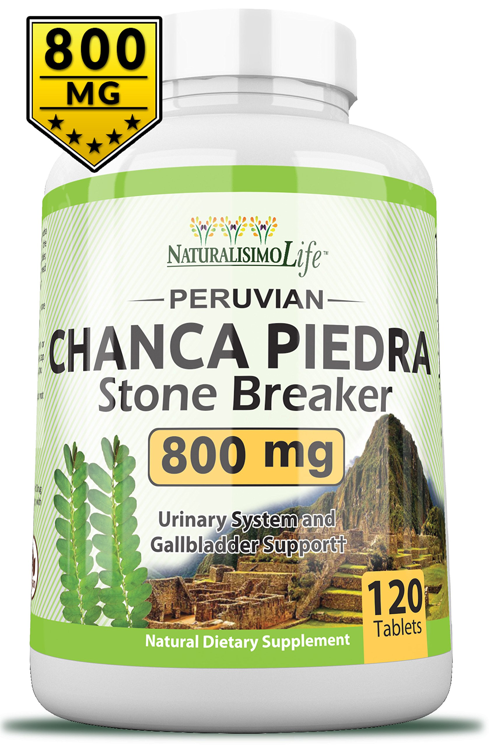 Chanca Piedra 800MG per Tablet - 120 Tablets Kidney Stone Crusher Gallbladder Support Peruvian Chanca Piedra Made in The USA by NaturalisimoLife