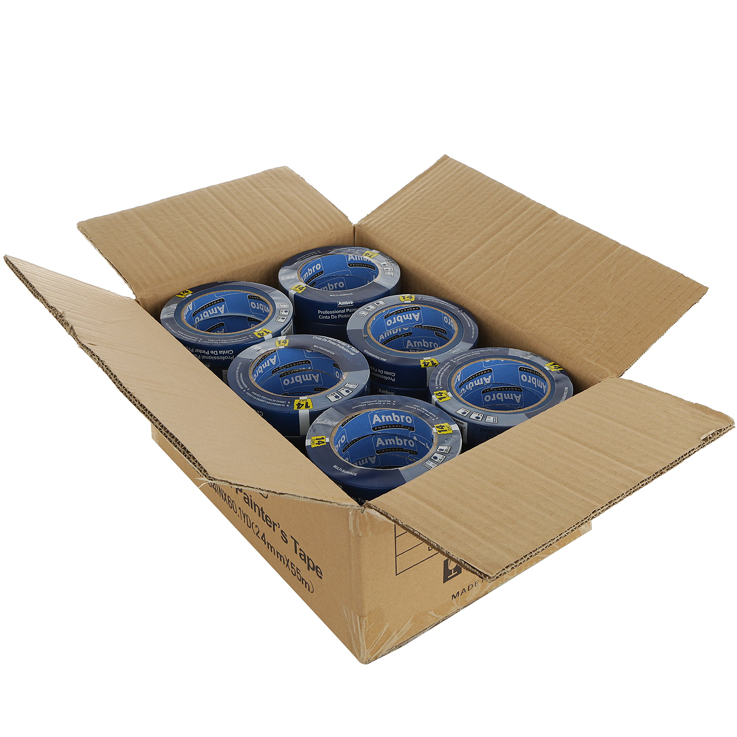 Ambro Professional Painters Tape Multi Surface Use (Blue) (CASE:24 pack, 2 inches x 60 yds)