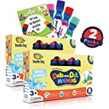 WASHABLE | Dab and Dot Markers | 8 Colors Pack Set | Fun Art Supplies for kids and preschoolers | Includes 200+ Fun Downloadable Coloring Sheets | Preschool Arts and Craft (Double Pack (8 Colors))