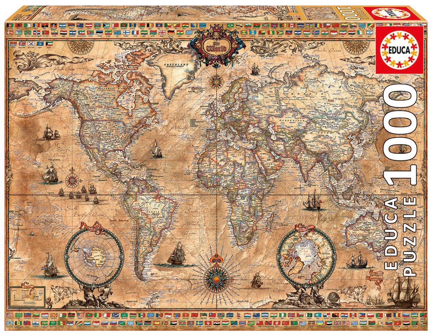 Educa Borrás - Puzzle Mapamundi de 1000 piezas (15159) 29-15159