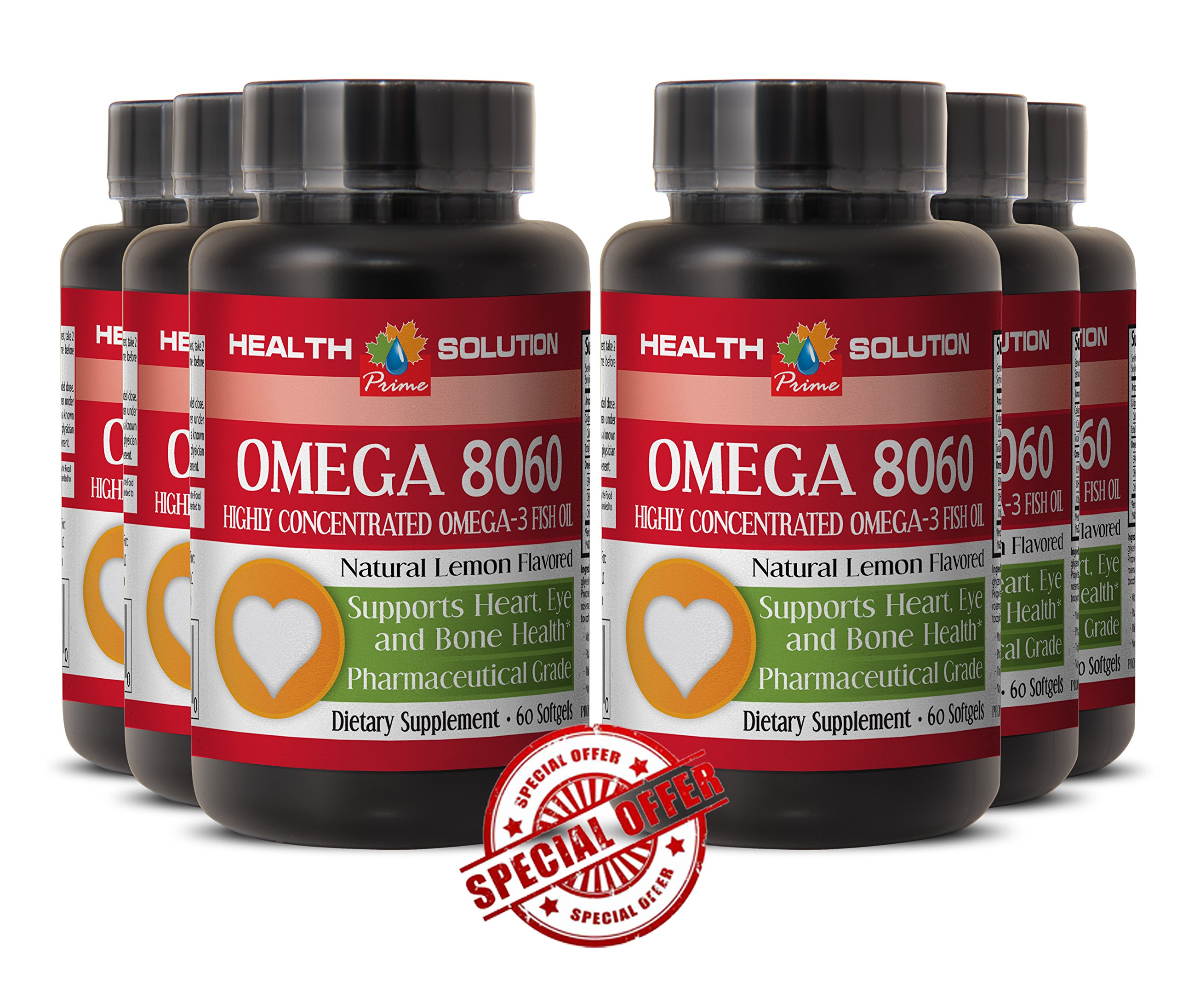 Omega supplement organic - OMEGA 8060 OMEGA-3 FATTY ACIDS - improve attention (6 Bottles) by Health Solution Prime