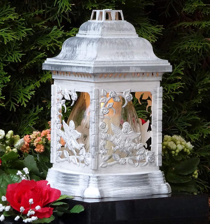/♥ Grablampe Engel Rosen Wei/ß Silber Rustikal mit Grablicht 26,0cm Grabschmuck Grablaterne Grableuchte Kerze Grablicht Grabkerze Laterne Lampe Licht Schutzengel