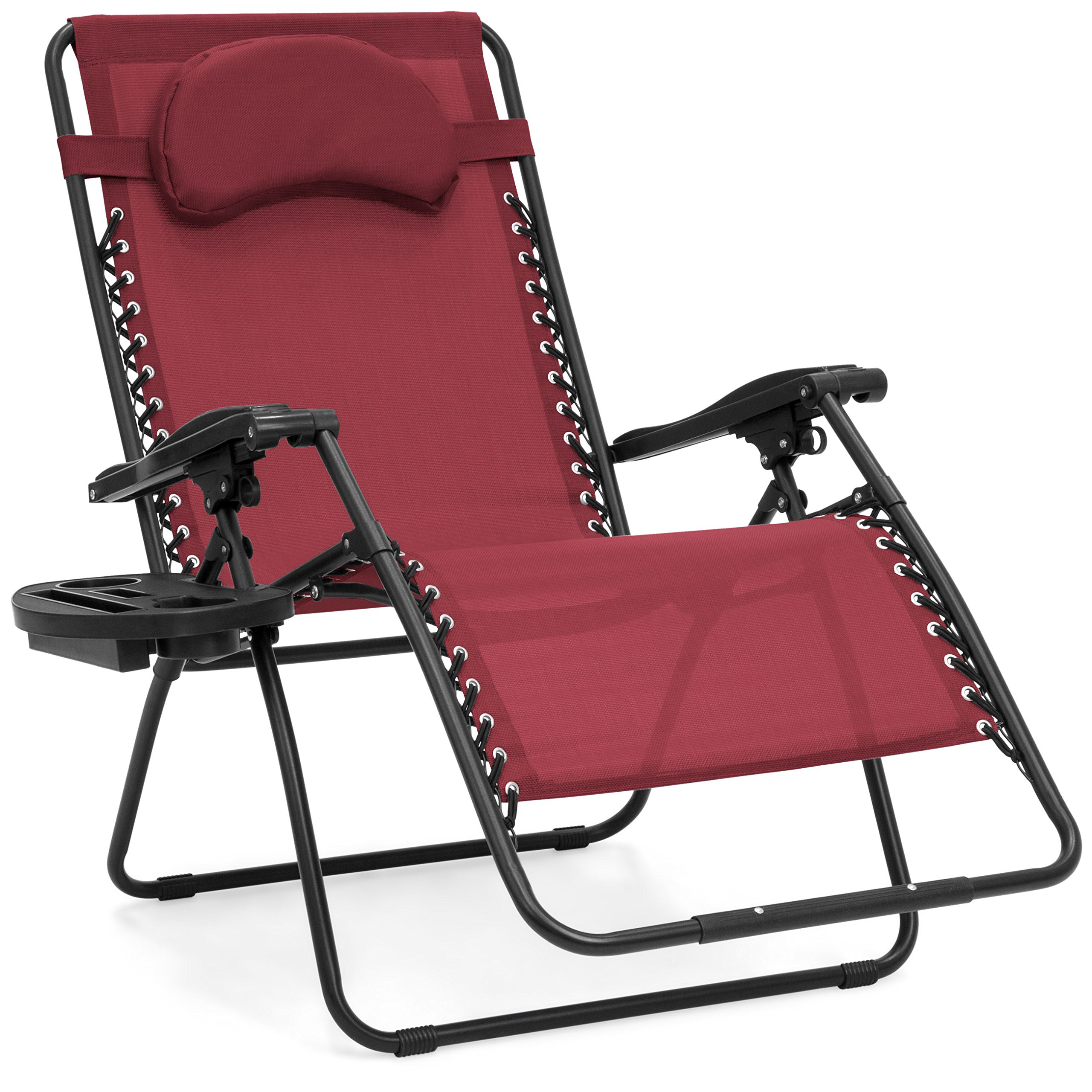 Best Choice Products Oversized Folding Mesh Zero Gravity Recliner Chair w/Cup Holder Accessory Tray and Removable Pillow, Burgundy by Best Choice Products