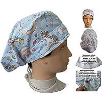 Cappello da infermiera UNICORNIE per donna, per capelli lunghi, Sala operatoria, Dentista, Veterinaria, Cucina, Asciugamano davanti, regolabile sul retro, adatta a tutti i capelli