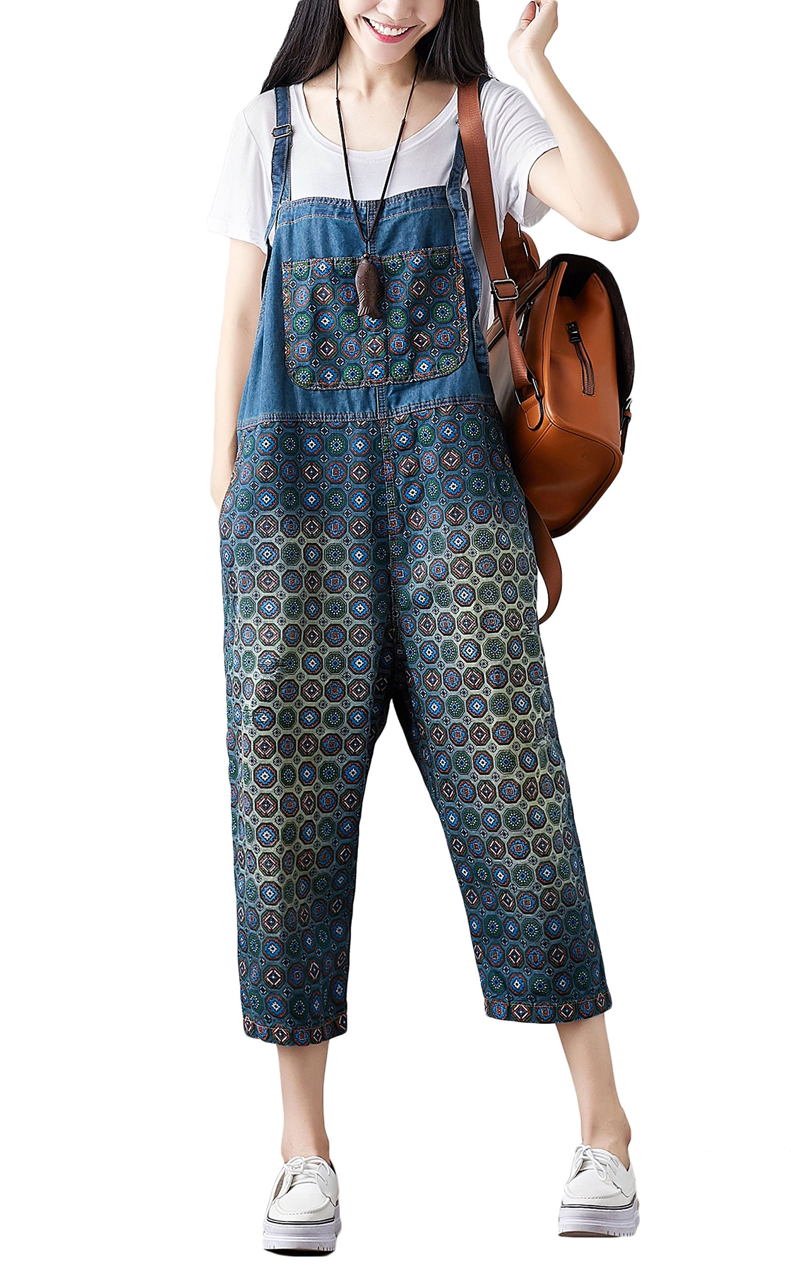 Soojun Women's Cotton Casual Printed Baggy Bib Overalls, 3 Blue