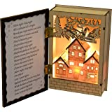 WeRChristmas Pre-Lit Musical Wooden Christmas Book with Warm White LED Lights, 15 cm - Multi-Colour