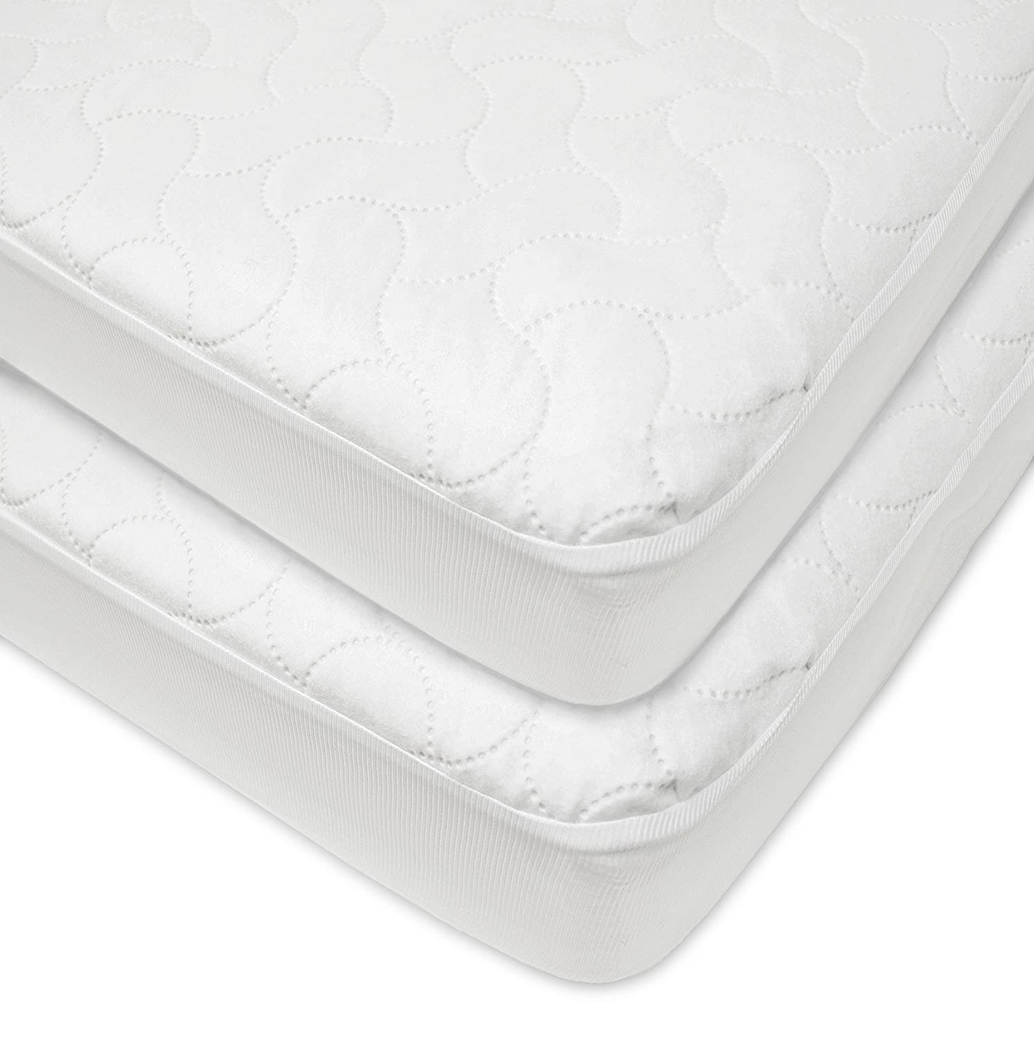 American Baby Company Waterproof Fitted Quilted Crib and Toddler Protective Pad Cover, (2 Pack)White 22863-WT