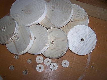 Madera ruedas para manualidades (10 unidades, 23 x 18 mm Madera Scheibe muñeca carro