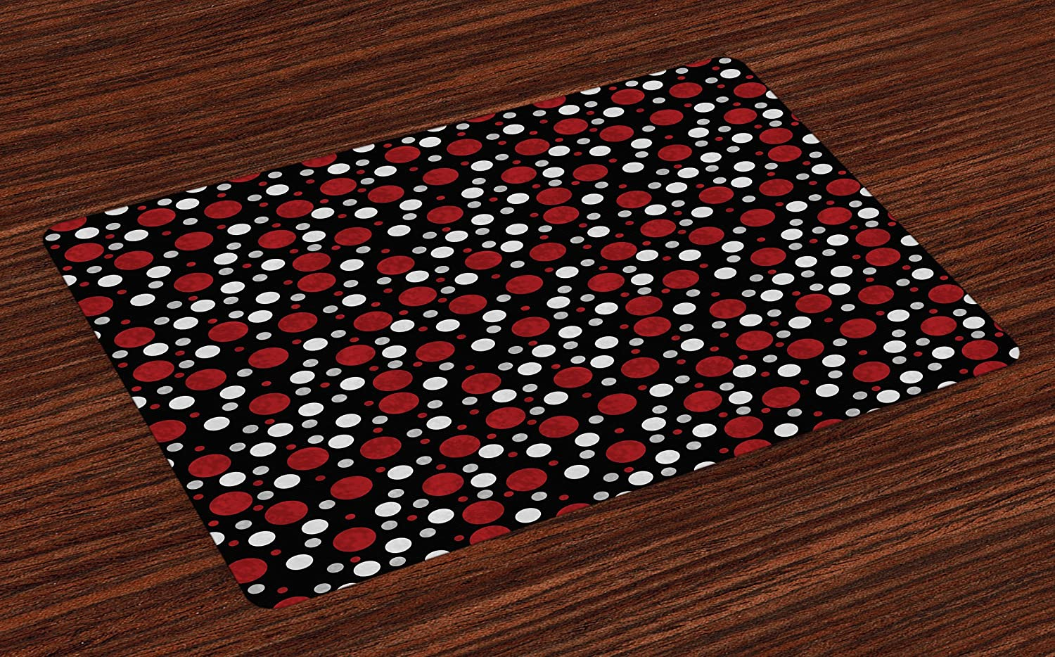 Ambesonne Red and Black Place Mats Set of 4, Retro 60s 70s Cartoon Snow Like Polka Dots Circles Rounds, Washable Fabric Placemats for Dining Room Kitchen Table Decor, White Pale Grey and Burgundy