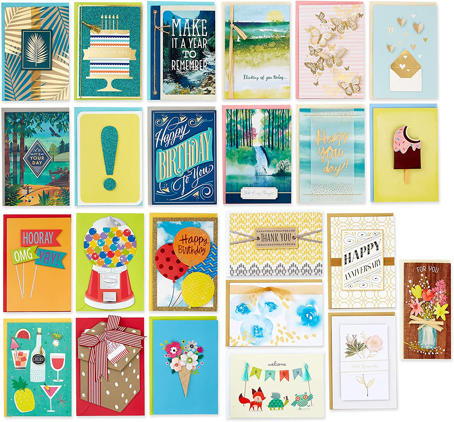 Hallmark Pack of 24 Handmade Assorted Boxed Greeting Cards, Modern Greenery—Birthday Cards, Baby Shower Cards, Wedding Cards, Sympathy Cards, Thinking of You Cards, Thank You Cards