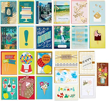 Hallmark Pack of 24 Handmade Assorted Boxed Greeting Cards, Modern Greenery—Birthday Cards, Baby Shower Cards, Wedding Cards, Sympathy Cards, Thinking of You Cards, Thank You Cards (5EDX1107)