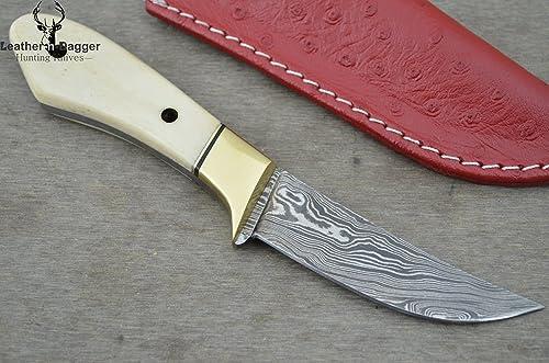 Leather-n-Dagger Huge Sale Scandinavian Viking Professional Custom Handmade Damascus Steel Skinner Hunting Knife Ld125