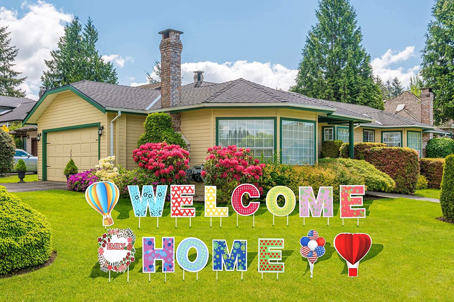 "JILLSKY Welcome Home Yard Signs with Stakes Support Custom Themes – 16.7"" Big Size Welcome Back Home Yard Sign Outdoor Lawn Decorations - Set of 15"