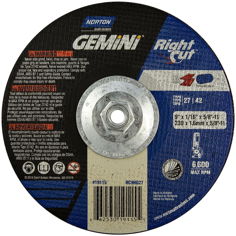 Type: Type 27 Grit: 24 Diameter: 9 Thickness: 0.060 Abrasive Material: Aluminum Oxide Max Arbor Size: 5//8-11 Grade: Very Coarse Application: Ferrous Metal RPM: 6600 Wheel Type: Rightcut Cut Off Series: Gemini Gray Iro Depressed Center Wheel