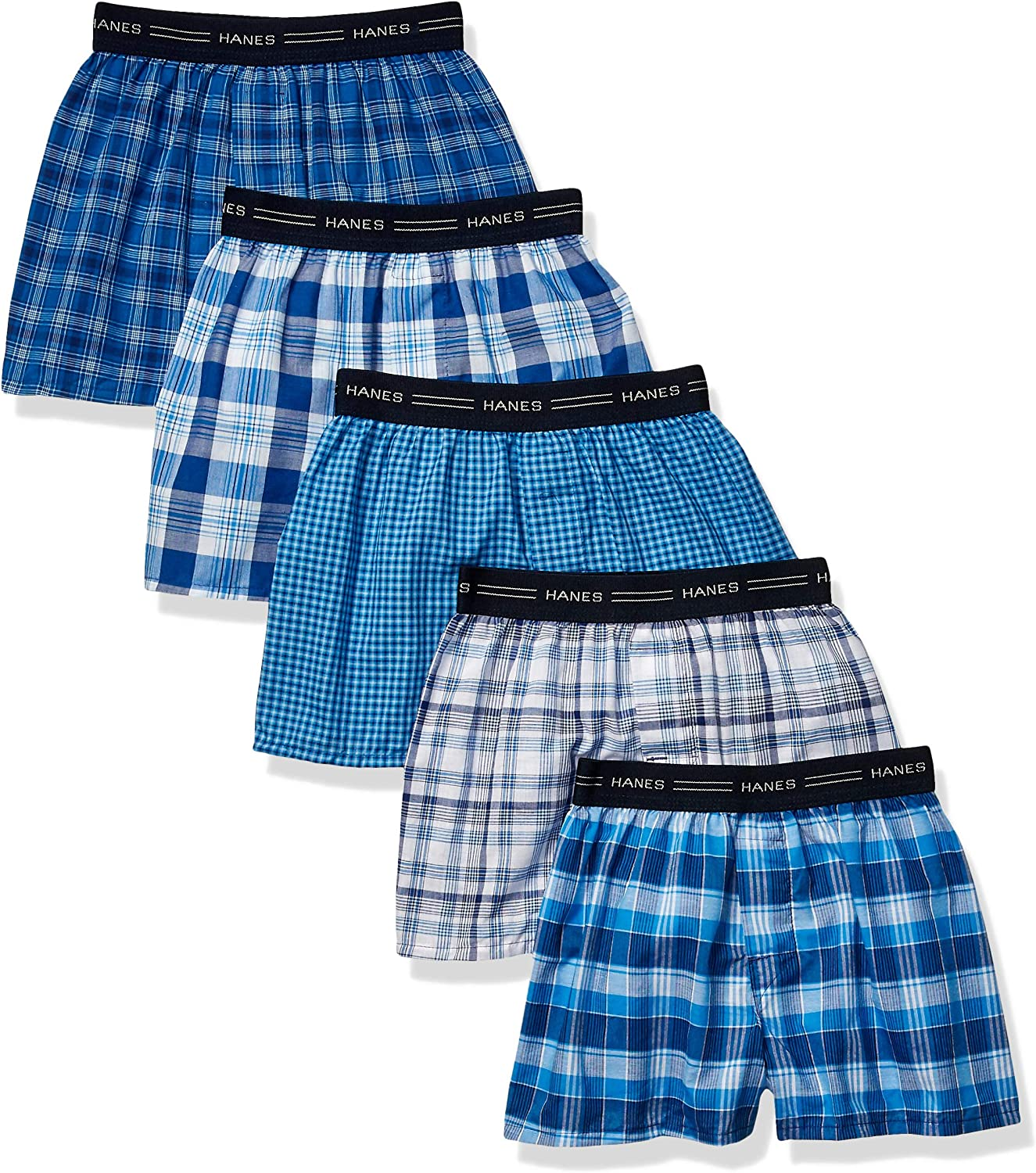 Hanes Boys' 5-Pack Boxer (Colors may vary): Clothing