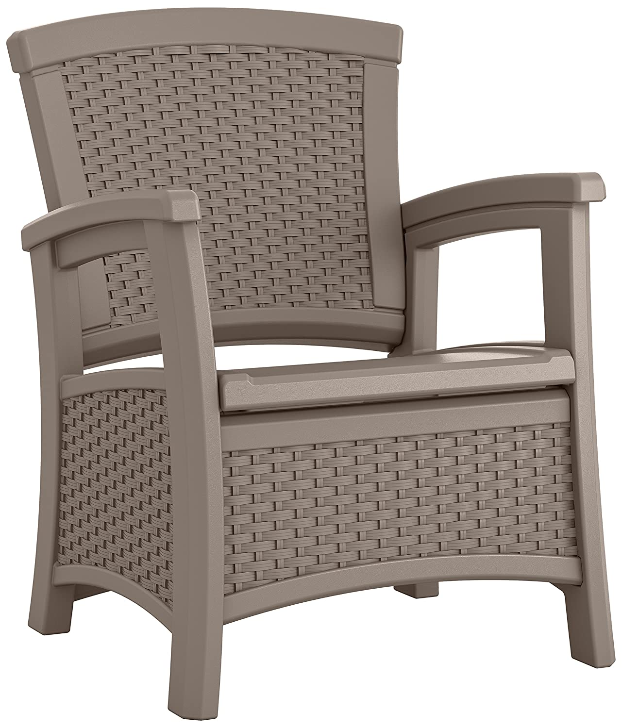 Suncast ELEMENTS Club Chair with Storage, Dark Taupe
