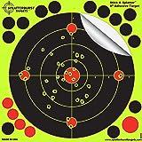 """Paquet de 25 - 20,3cm """"Stick & Splatter"""" Adhésif Splatterburst Objectifs de tir - Les coups jaunes fluorescents brillants sont faciles à voir - Excellente pour toutes les armes à feu, fusils, pistolets, fusils à air et Airsoft."""