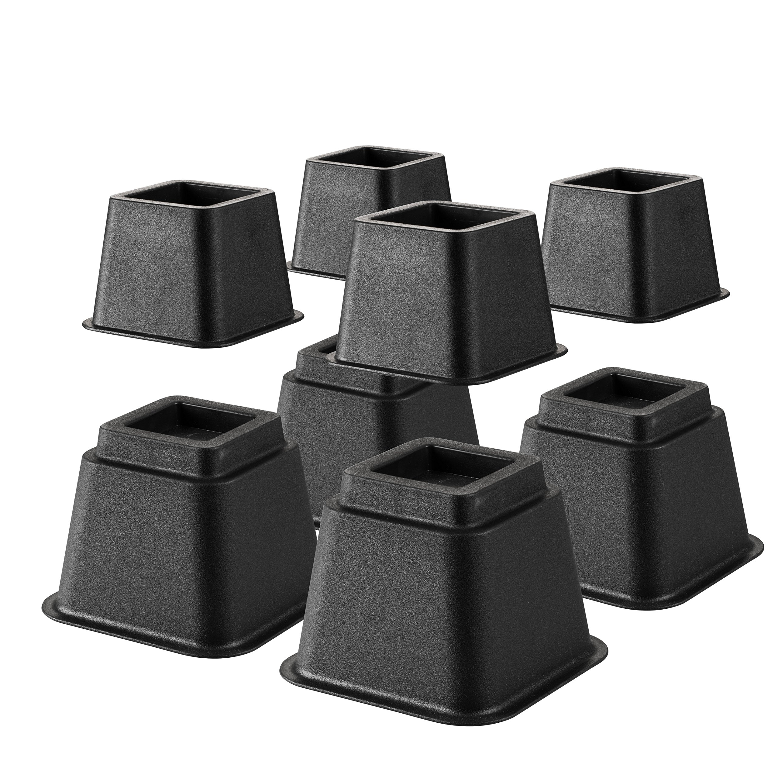 Define Essentials Heavy Duty Multi Height Bed Risers and Bed Lifts - 8 Piece Set - Adjustable to 8, 5 or 3 Inch Heights