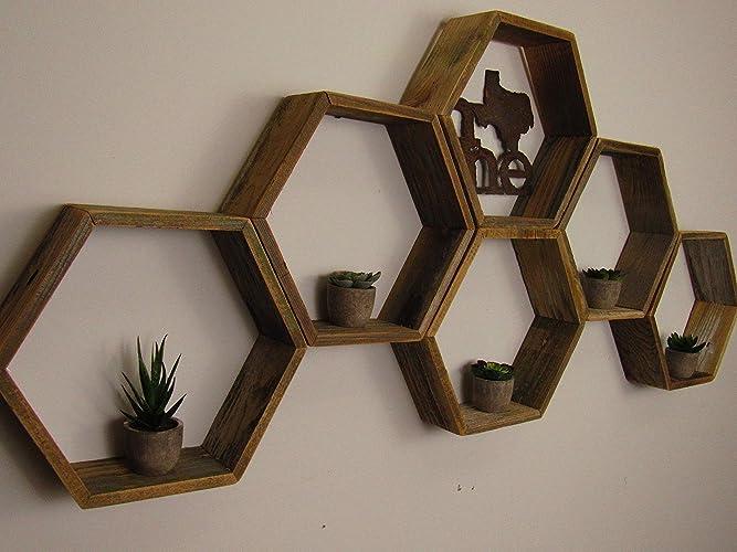 Amazon Com Reclaimed Honeycomb Shelves Hexagon Shelves Distressed