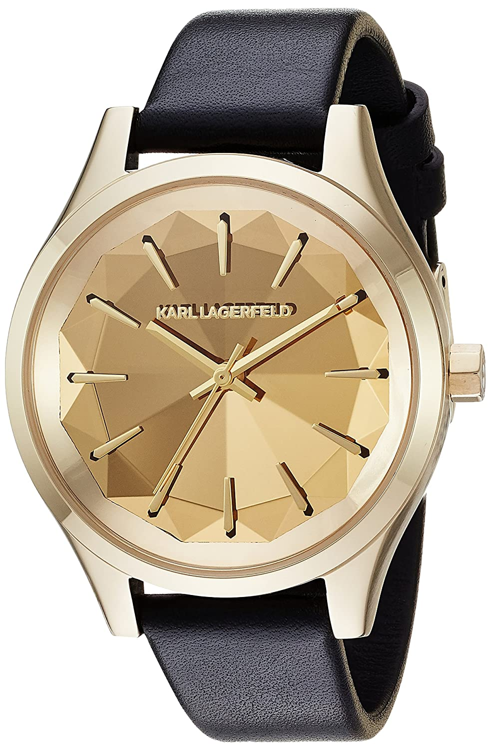 Karl Lagerfeld Women's Janelle Quartz Stainless Steel And Leather Casual Watch, Color Gold Tone, Black (Model: Kl1617) by Karl Lagerfeld