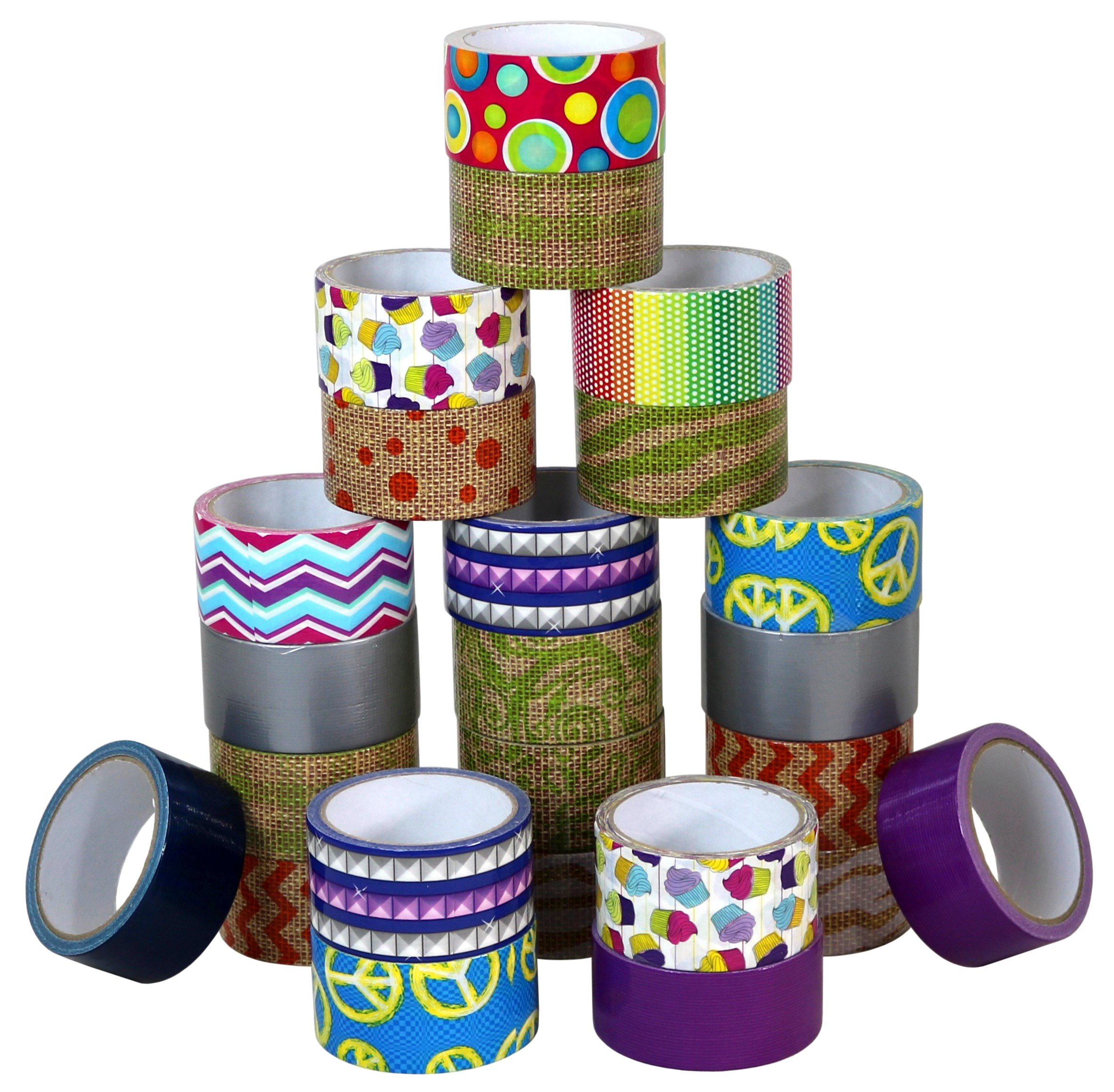 Assorted Duct Tape Bulk Set Of Colored Duct Tape, 24 Random Rolls
