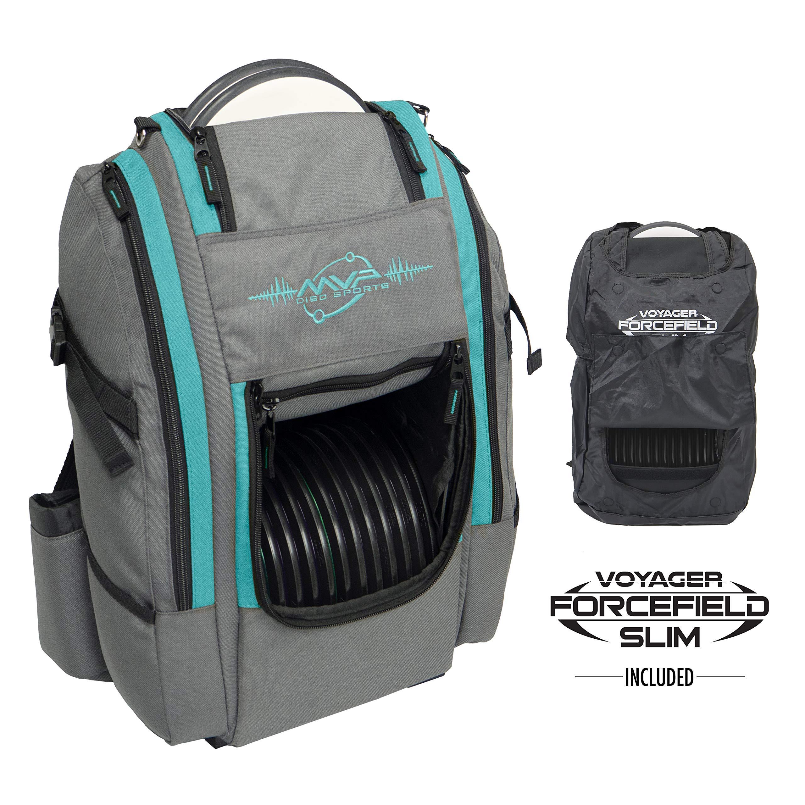 MVP Disc Sports Voyager Slim Bag (Gray/Aqua) + Forcefield by MVP Disc Sports