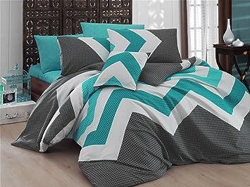 LaModaHome 3 Pcs Luxus Weich Farbigen Schlafzimmer 65% Baumwolle 35%  Polyester Quilt Bettbezug Set