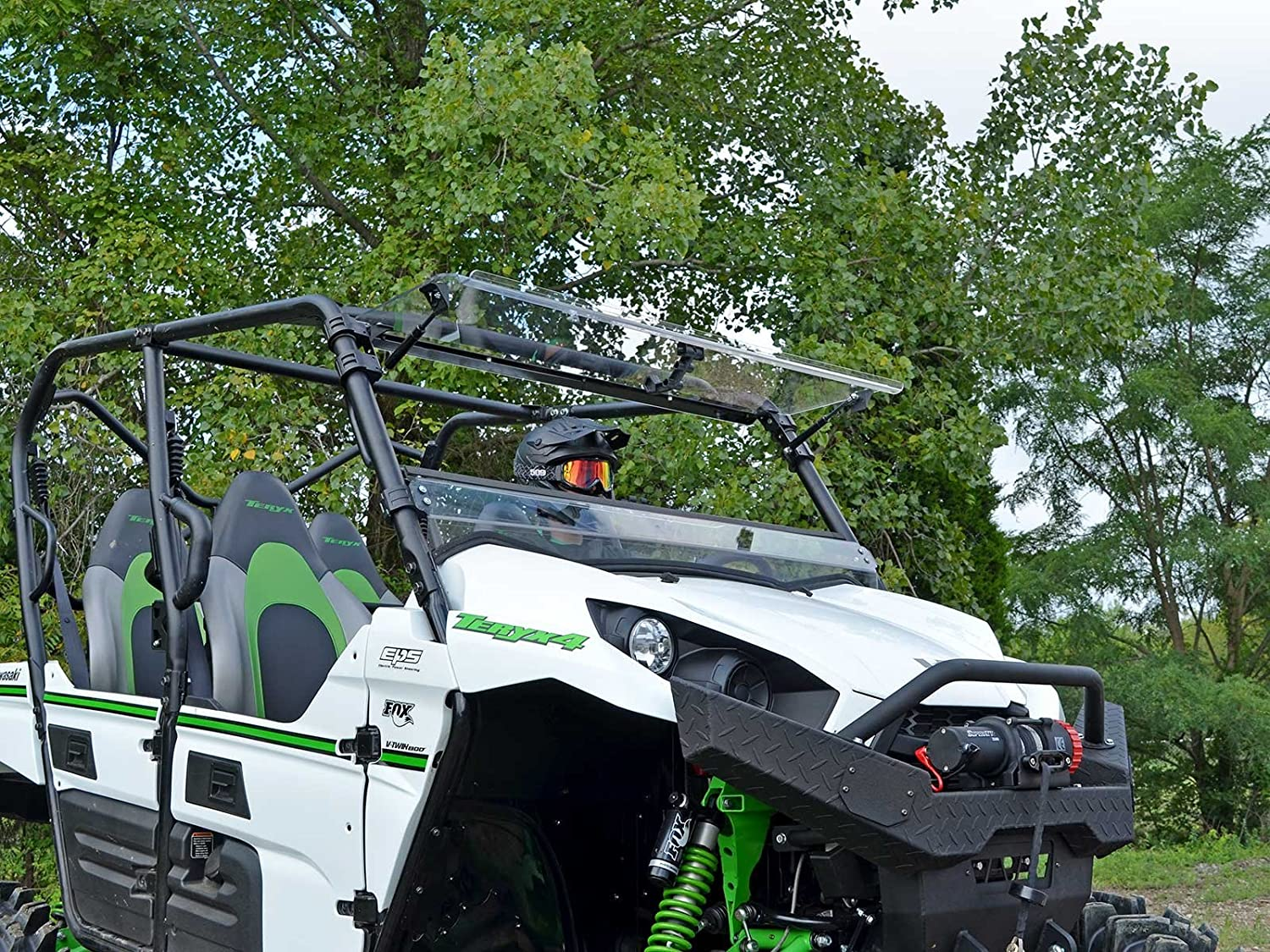 or Closed - Can be Set to Open SuperATV Heavy Duty Scratch Resistant Flip Windshield for Kawasaki Teryx 750 4//800 // 800 4 Easy to Install! 2012-2015 Vented