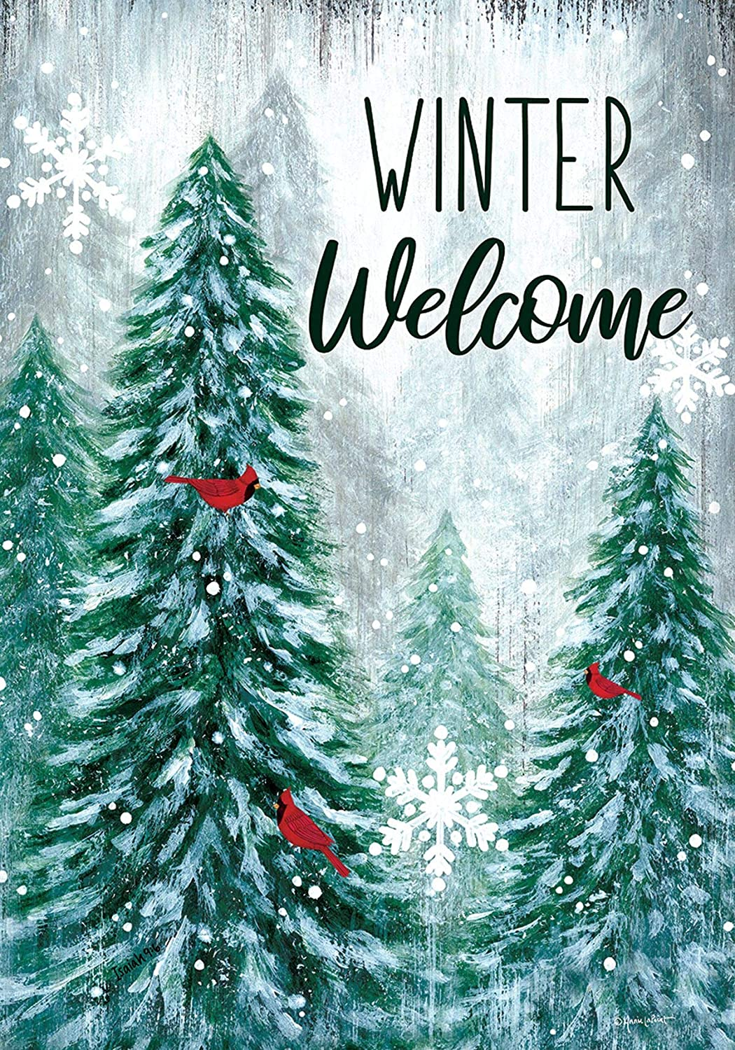 Custom Decor Winter Wonderland Welcome - Garden Size, Decorative Double Sided, Licensed and Copyrighted Flag - Printed in The USA Inc. - 12 Inch X 18 Inch Approx. Size