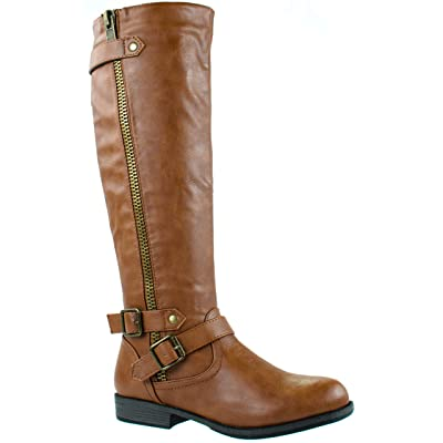 Bamboo Women's Montana-48 Mid Calf Boots with Decorative Zipper and Buckles