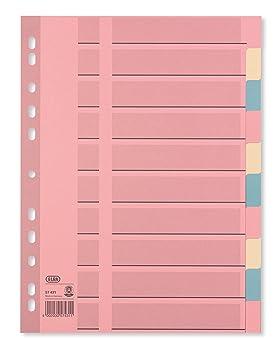 Elba 57431 - Separadores para archivador (A4, 10 páginas, papel reciclado reforzado, 25 unidades), varios colores pastel: Amazon.es: Oficina y papelería