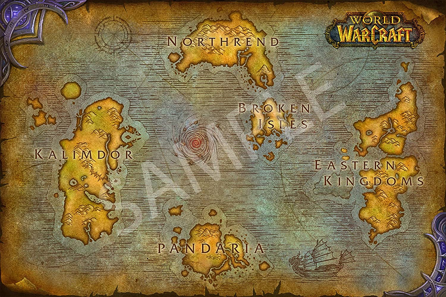 Amazon com: Best Print Store - World of Warcraft Map of Azeroth