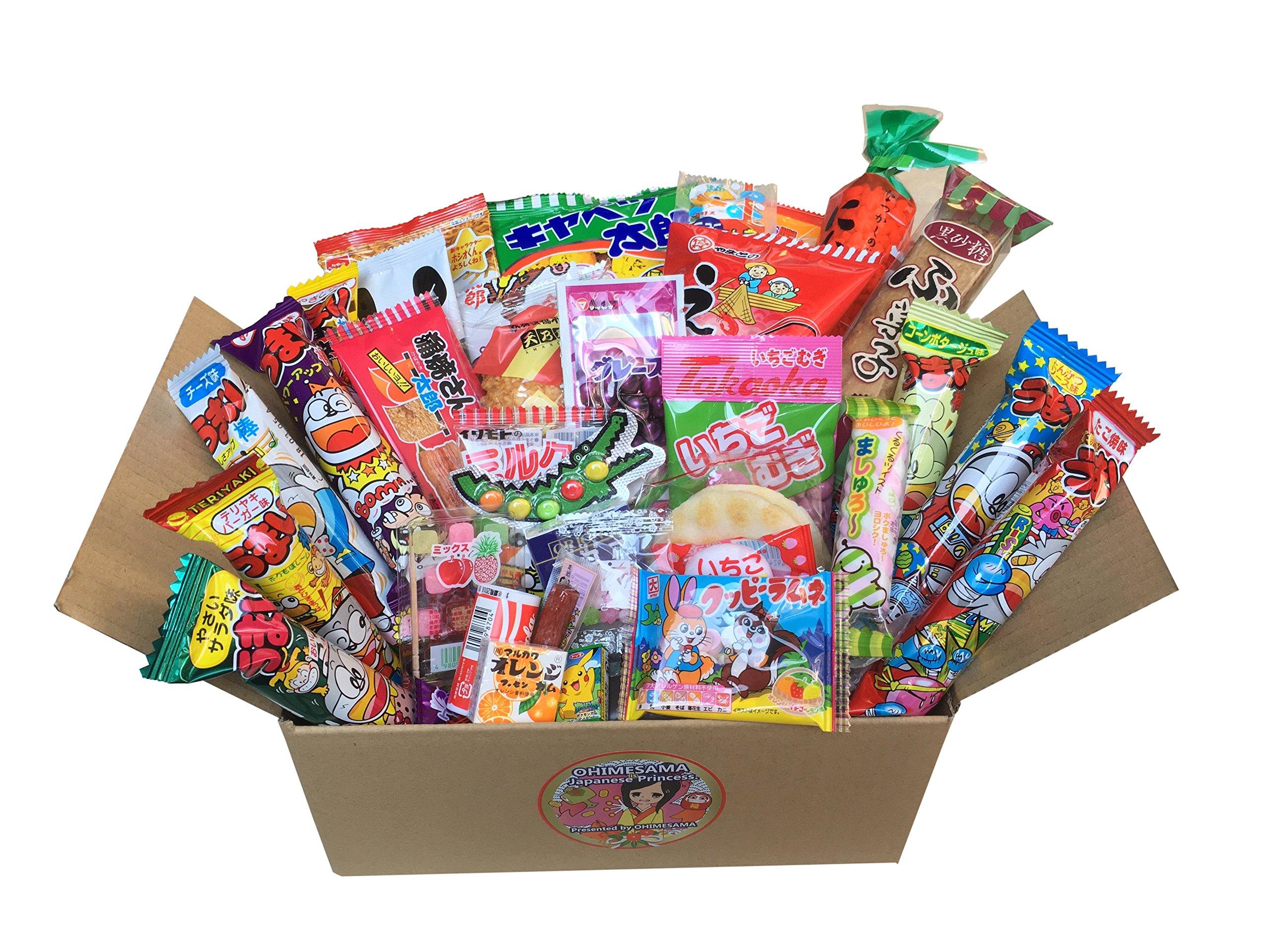 """Japanese Snack Assortment 35 pcs of 27 types Full of""""DAGASHI"""", OHIMESAMA Snack Selection (M)"""
