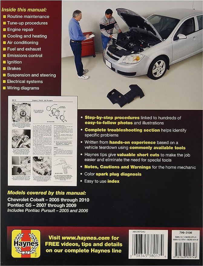 Amazon Com Chevrolet Cobalt Pontiac G5 Haynes Repair Manual 2005 2009 Automotive