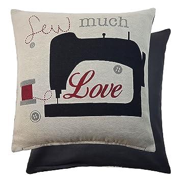 Tejido bordado para coser mucho amor máquina de coser Funda ...