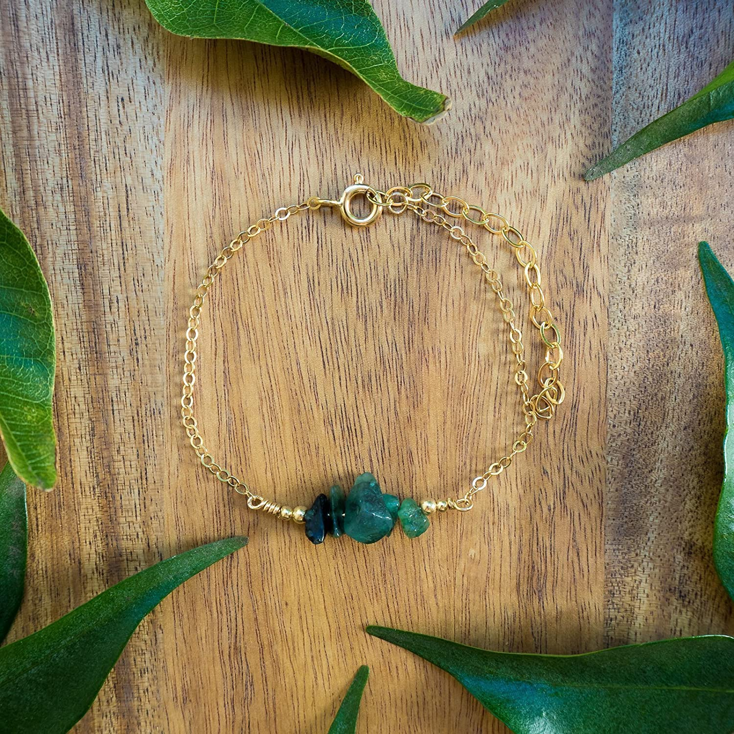 Emerald bead bar crystal bracelet in 14k gold fill - 6