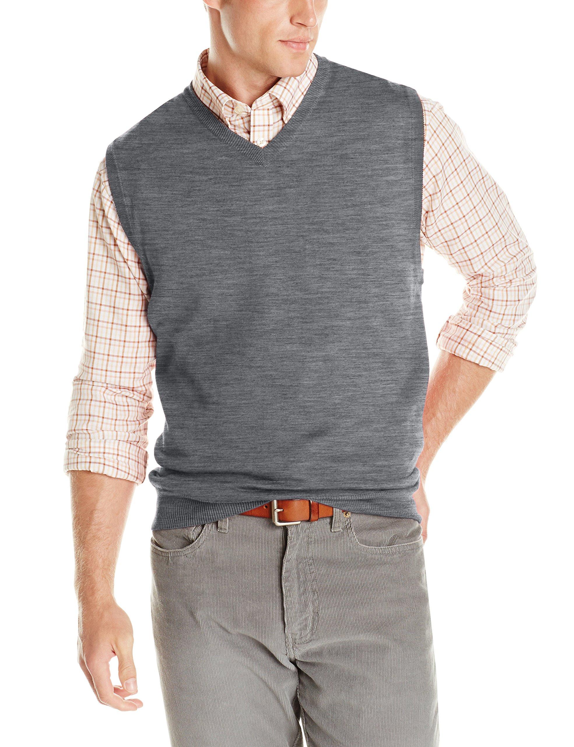 Cutter & Buck Men's Douglas V-Neck Sweater Vest, Medium Grey Heather, X-large