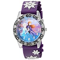 Girls' Frozen 2 Analog Quartz Watch with Plastic Strap, Purple, 16 (Model: WDS000778)
