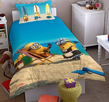 Spaces Minions Printed 180 TC Cotton Single Bedsheet With 1 Pillow Cover    Blue