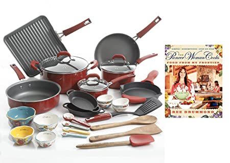 The Pioneer Woman Ultimate Bundle with Vintage Speckle 30-Piece Cookware Set Red and Hardcover Edition of The Pioneer Woman Cooks Food from My Frontier Cookbook by Ree Drummond