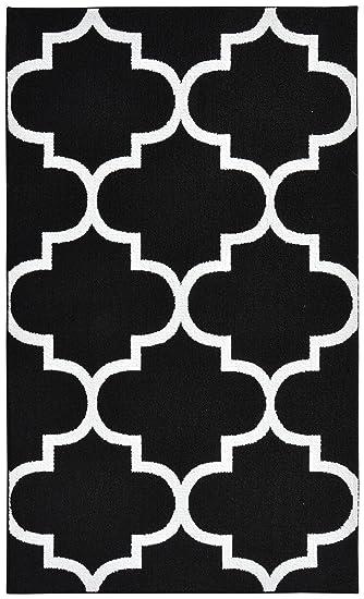 Garland Rug Quatrefoil Area Rug, 5 By 7 Feet, Black/White