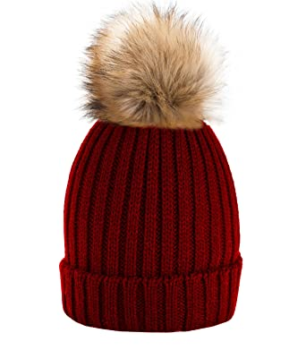 eb9d4e327c4 Funy Beanie Baby Kids Girls Boys Hat London Wool Knitted With Pom Pom P1  Winter Warm SKI Snowboard Hats 4sold (Dark Red)  Amazon.co.uk  Clothing