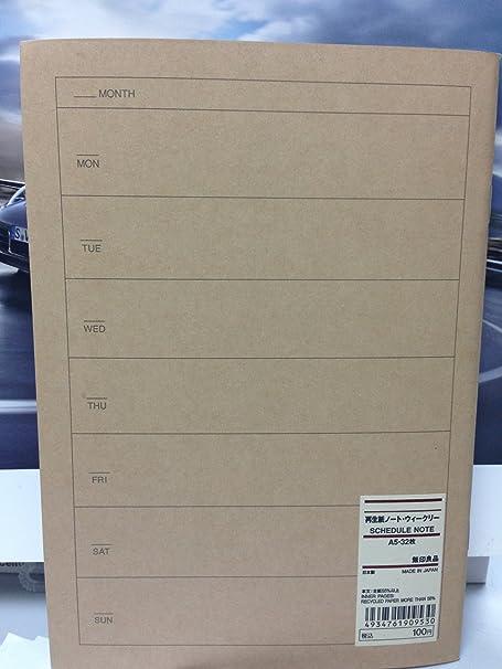 Japón MUJI A5 Calendario semanal Nota - para 32 hojas ...