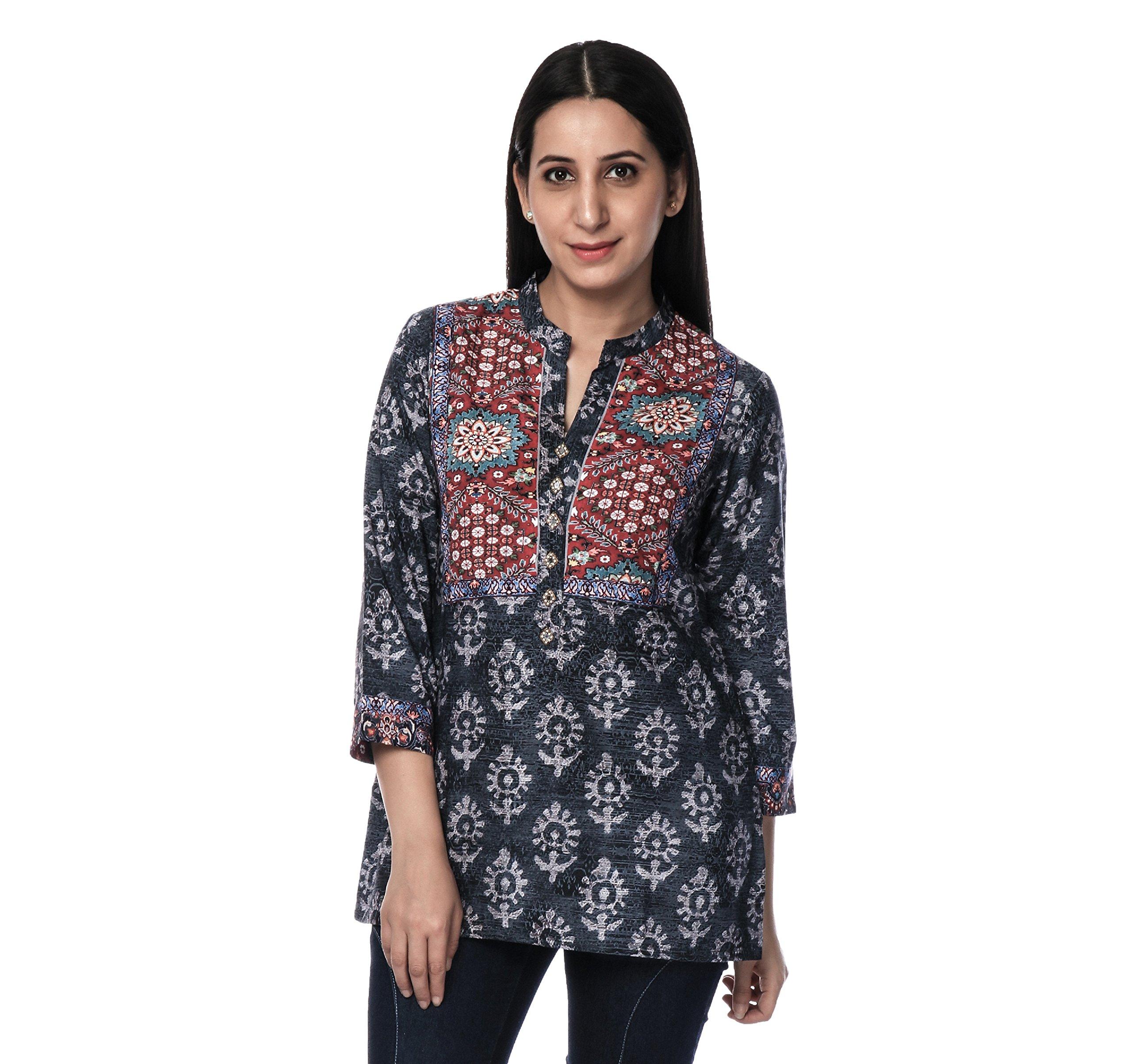 Ria Fashions Indian Kurta Kurti Womens Polyester French Crepe Blouse Tunic Top (2XL(46 in), amz120)